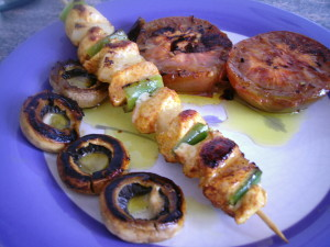 Brocheta de pollo al curry